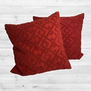 Knitted red throw pillows bundle of two